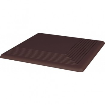 Natural Brown stopnica ryflowana narożna gładka 30x30x1,1