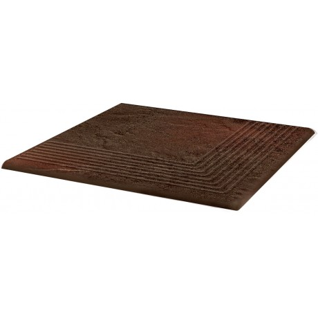 SEMIR Brown stopnica ryflowana narożna 30x30