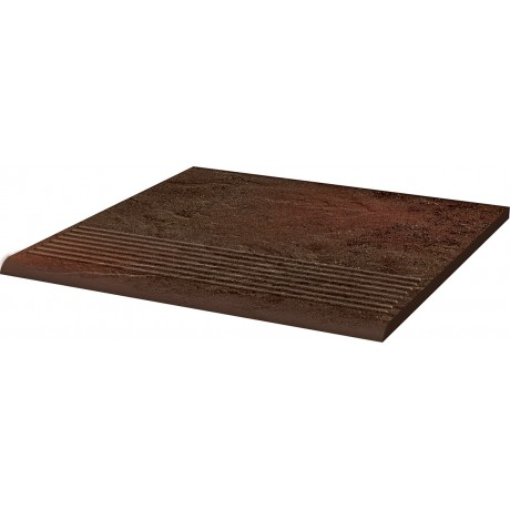 SEMIR Brown stopnica ryflowana prosta 30x30