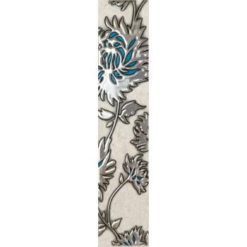 L-Gris flower turkus 7,4 x 36