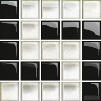 Glass White/Black Mosaic D New 14,8x14,8