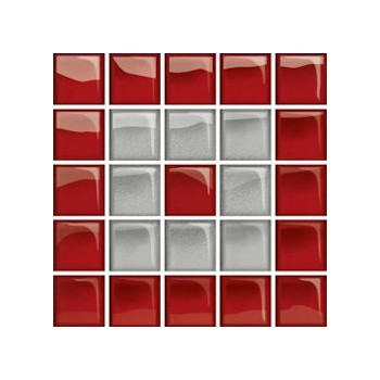 Glass Silver/Red Mosaic C 14,8x14,8