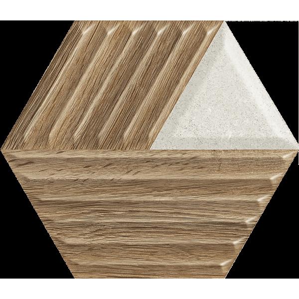 Woodskin Mix Heksagon Struktura C Ściana 19,8x17,1 GAT.I