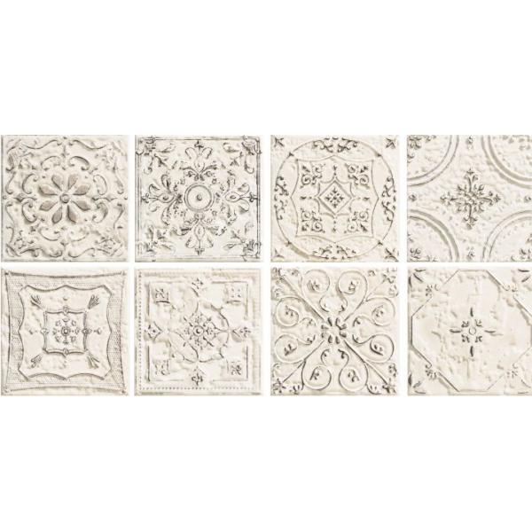 Tinta White Dekor 14,8x14,8 GAT.I (8 różnych wzorów pakowanych losowo cena dotyczy 1 szt)