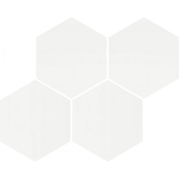 Hexagon white glossy mosaic 21x26 GAT.I